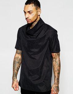 Черная тканая футболка со свободным воротом ASOS - Черный
