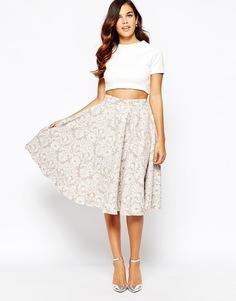 Пышная жаккардовая юбка миди Closet - Бежевый