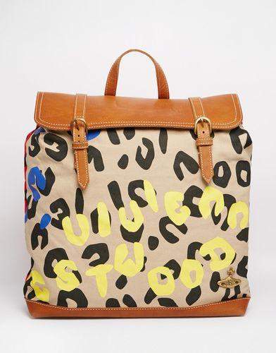 Рюкзака с леопардовым принтом и кожаной отделкой Vivienne Westwood Anglomania