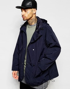 Темно-синяя двубортная куртка-ветровка ASOS - Темно-синий