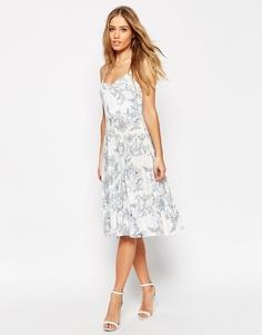 Плиссированное платье миди с синим принтом ASOS - Кремовый