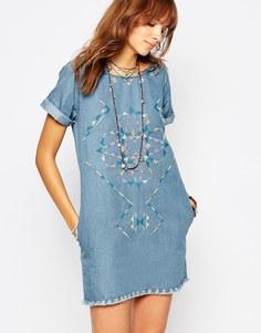 Джинсовое платье с вышивкой и необработанными краями Pepe Jeans - Деним