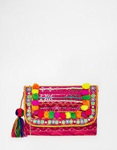 Клатч с помпонами Glamorous - Красный многоцветный