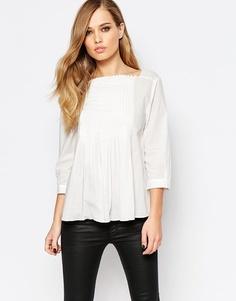 Кремовая блузка с плиссировкой на груди и рукавами 3/4 Sisley - 074 бежевый