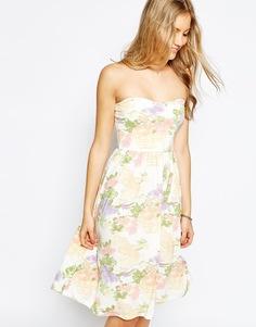 Платье-бандо миди с акварельным цветочным принтом ASOS - Мульти