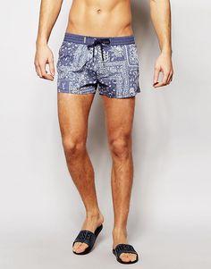 Короткие шорты для плавания с принтом пейсли Diesel - Синий