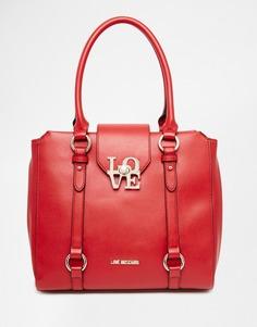 Красная сумка-тоут с металлическими буквами Love Love Moschino - 513 красный