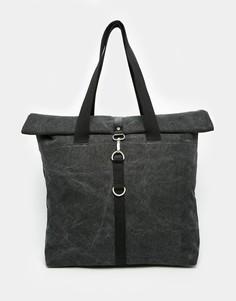 Черная парусиновая сумка-тоут с отворотом ASOS - Черный