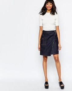 Джинсовая юбка с запахом Monki - Синий