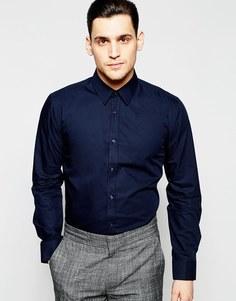 Синяя строгая рубашка слим из поплина Hugo by Hugo Boss - Темно-синий