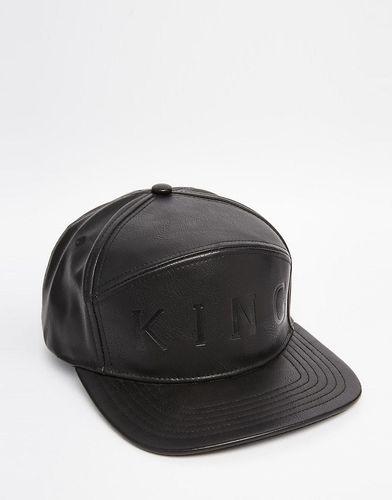 6-панельная кожаная бейсболка King Apparel - Черный