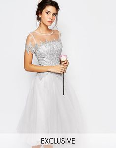 Кружевное платье миди с юбкой из тюля Chi Chi London - Лунный камень