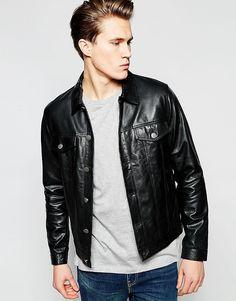Кожаная куртка в стиле вестерн с карманами и необработанным краем Barney's - Черный