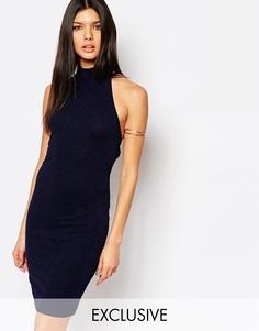 Платье миди из крепа с высоким воротом Club L - Темно-синий