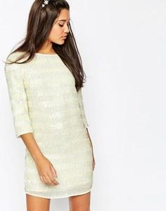 Цельнокройное платье мини с пайетками ASOS - Белый