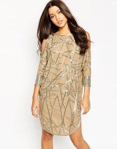 Цельнокройное платье миди с открытыми плечами и отделкой из бусинок ASOS - Кремовый