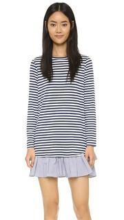 Платье-футболка с длинными рукавами и оборками Clu