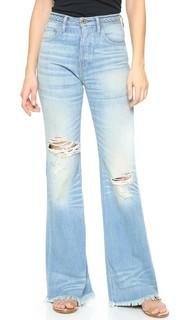 Расклешенные джинсы с высокой талией и заплетенным колосом поясом NSF