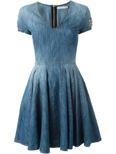 расклешенное джинсовое платье  Amen
