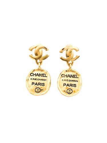 серьги-подвески с логотипом Chanel Vintage