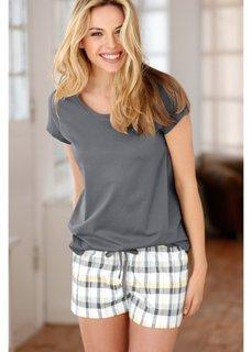 Пижама (нежно-желтый/серый в клетку) Bonprix