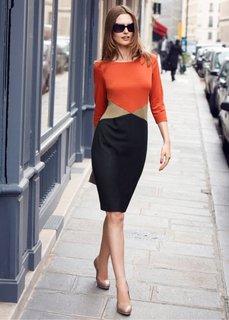 Платье (черный/бежевый/темно-оранжевый) Bonprix