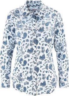 Джинсовая рубашка (синий с рисунком) Bonprix