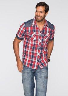 Рубашка Regular Fit с коротким рукавом (красный в клетку) Bonprix