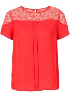 Блузка с кружевной вставкой (белый) Bonprix