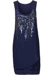 Платье с пайетками (темно-синий) Bonprix