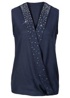 Блузка с эффектом запаха (черный/серебристый) Bonprix