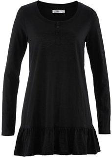 Удлиненная футболка с длинным рукавом (светло-серый меланж) Bonprix