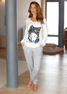 Пижама (цвет белой шерсти/светло-серый) Bonprix
