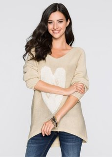 Пуловер (бежевый/белый) Bonprix