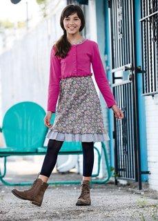 Платье + трикотажный кардиган (2 изд.), Размеры  116-170 (серебристый матовый/розовый/цв) Bonprix