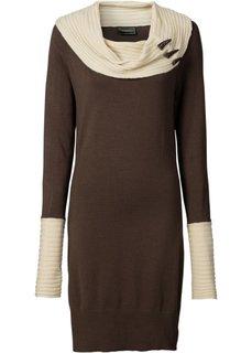 Вязаное платье (черный/серый) Bonprix