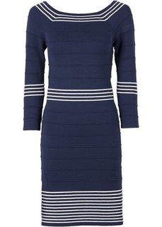 Вязаное платье (темно-красный/белый) Bonprix