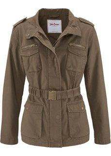 Парусиновая куртка с поясом в талии (бордово-коричневый) Bonprix