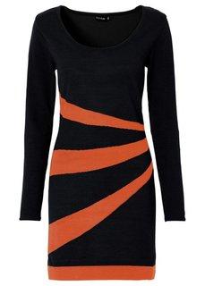 Вязаное платье (черный/цвет белой шерсти) Bonprix