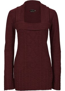 Вязаный пуловер (бежевый меланж) Bonprix