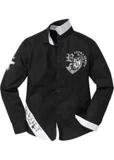 Рубашка с длинным рукавом Slim Fit (белый) Bonprix