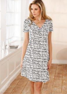 Ночная сорочка (белый с рисунком) Bonprix