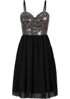 Шифоновое платье с пайетками (серый) Bonprix