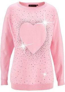Удлиненный пуловер с сердцем из стразов (черный) Bonprix