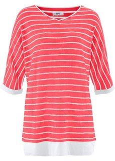 Пуловер 2 в 1 из пряжи фламе (белый/черный в полоску) Bonprix