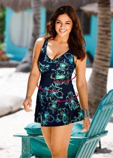 Формирующее купальное платье (темно-синий/бирюзовый) Bonprix