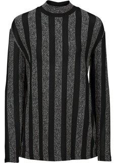 Пуловер (серый меланж/белый в полоску) Bonprix