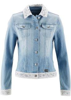 Джинсовая куртка с вышивкой ПРЕМИУМ (серый деним) Bonprix