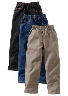 Непринужденные брюки (3 шт.), XXL (черный «потертый» + темно-сини) Bonprix