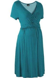Мода для беременных: трикотажное платье-стретч (клубничный/белый в горошек) Bonprix